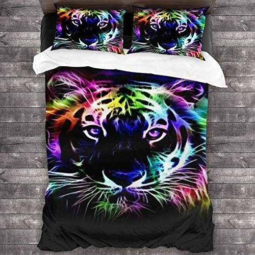 WEQIANGHAN Neon Tiger Design Duvet Cover Set Queen Size, Soft 100% Microfiber Bedding Set for Women Men Boys and Girls Bedroom Decoration 3 Pieces Bed Set(1 Duvet Cover 2 Pillowcase)