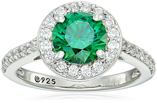 Platinum-Plated Sterling Silver Round-Cut Fancy Green Halo Ring made with Swarovski Zirconia, Size 9