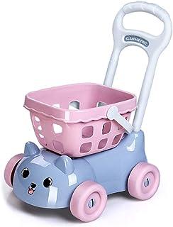 キッチンショッピングカート玩具 子供向けカット音楽玩具 スーパーマーケットの果物や野菜のカート 女の子向けの家の玩具 親子向けのインタラクティブ教育玩具 (Color : Blue, Size : 30*45cm)