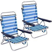 LOLAhome Pack de 2 sillas de Playa Convertibles en Cama de Aluminio y textileno (Azul y Blanco)
