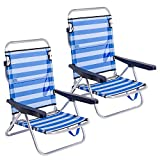 LOLAhome Pack de 2 sillas de Playa Cama de 4 Posiciones Azul Marino de Aluminio y textileno