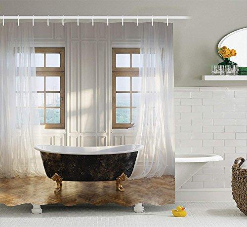 GAOFENFFR Antique Decor Shower Curtain Retro Vasca dain Modern Room Interior Hardwood Classics Space Design da ExtraIvory White