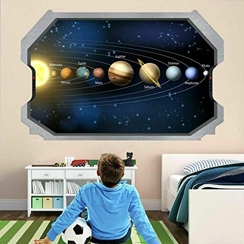 wall sticker Planets Space Galaxy Stars Astronomy 3D Wall Stickers Decal Poster Kids Room