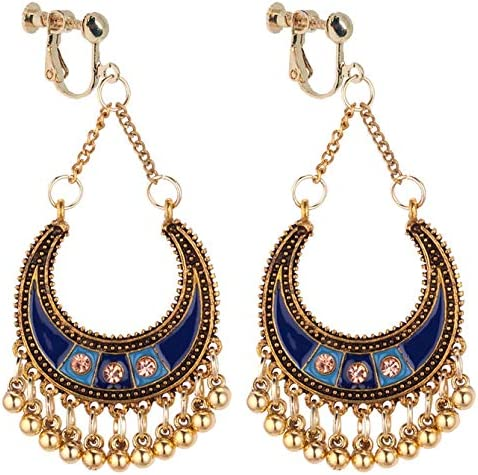 Boho Clip on Dangle Earrings for Girls Women Ethnic Hammered Crescent Ball Drop Long Chain Fashion