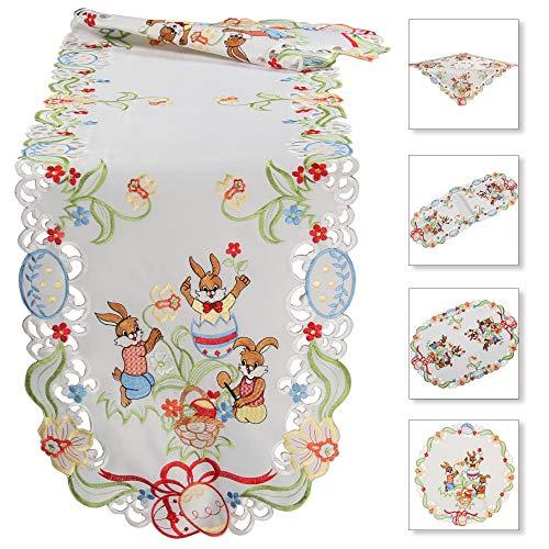 Quinnyshop - Camino de Mesa con diseño de Conejos de Pascua Bordados, Color Blanco, poliéster, Blanco, Rund 30 cm