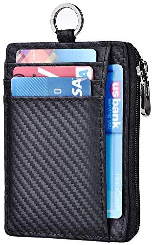 Slim Wallet RFID Front Pocket Wallet Minimalist Secure Thin Credit Card Holder (A Carbon Fiber ID Badge Holder)