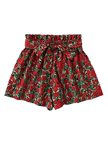 Milumia Women's Boho Wide Leg Shorts Casual Belted Elastic Waist Shorts Red Small