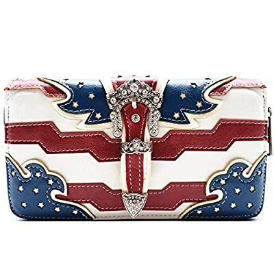 American Flag Stars and Stripes Buckle Women Wallet Wristlet Clutch Purse (Blue)