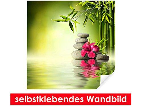 Image murale auto-adhésif Hibiscus on – Bambou – Facile à coller – Wall Poster Print, Wall Paper,, film vinyle avec point décoratif pour murs, portes, meubles et toutes les surfaces lisses de Trend murs, 80 x 80 cm