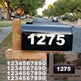 Diggoo Reflective Mailbox Numbers Sticker Decal Die Cut Bold Gothic Style Vinyl Number 2' Self Adhesive 4 Sets for Mailbox, Signs, Window, Door, Cars, Trucks, Home, Business, Address Number