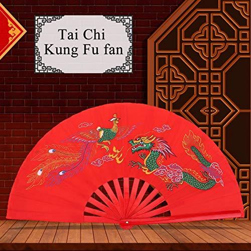 Vbest life Abanico de Tai Chi Rojo, Abanico de bambú de Artes Marciales Kung Fu, Abanico de Entrenamiento de práctica de Danza Wushu de Mano Derecha y Abanico de Phoenix ✅