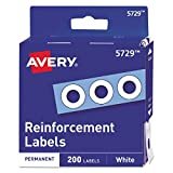 Avery 05729 Dispenser Pack Hole Reinforcements, 1/4' Dia, White (Pack of 200)
