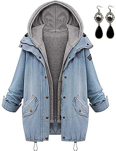 Sitengle Damen Jeansjacke Denim Winterjacke Blazer Langarmshirt 2 in 1 Kurzjacke Freizeit Blusen Oberteil Strickjacke Jäckchen Tops Mäntel Outwear Mit Zipper Blau 3XL/EU42-44