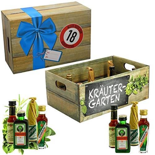 CREOFANT Kräutergarten mit Geburtstagszahl 18. Geburtstag · Witzige Geschenkidee für Männer und Frauen mit Alkohol · 8 x Kräuter-Likör · Hochwertige Geschenkbox · Geburtstagsgeschenk für Männer