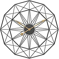 アイアンアート壁掛け時計ファッションサイレントクロッククリエイティブファッションクォーツ装飾時計電池で動くシンプルなスタイルの家の装飾、19.6インチ,黒