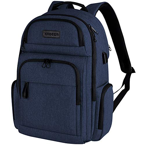 KROSER Travel Laptop Backpack Stylish 15.6 Inch Computer Backpack with Hard Shell Saferoom RFID Pockets Water-Repellent Sturdy School Daypack for Work/Business/College/Men/Women (Dark Blue)