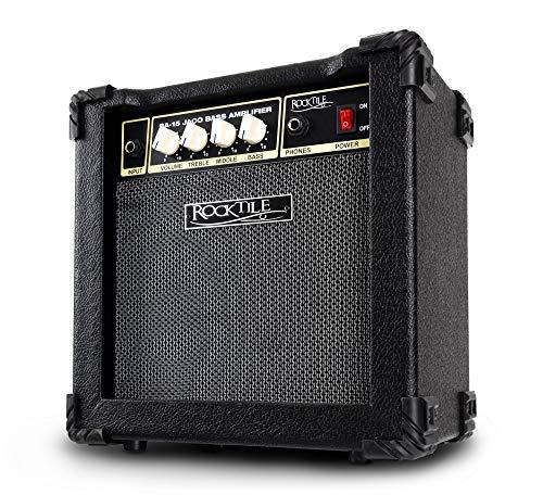 Rocktile BA-15 Jaco Basscombo (Bassverstärker im Combo-Format mit 15 Watt Leistung, für aktive und passive Bässe, 6,5