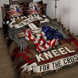 GEEMBI Quilt Bedding Set-Stand for The Flag Kneel for The Cross Quilt Bed Set DBX1498QS, Queen Size Coverlet for All Season-Soft Microfiber Bedspread+Pillows-Quilts Gifts (King,Queen,Twin)