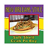 Die-Cut Sticker Multiple Sizes New Orleans-Style Soft Shell Crab Po Boy Restaurant and Food Soft Shell Crab Indoor Decal Concession Sign Multi-Colored - 18in Longest Side