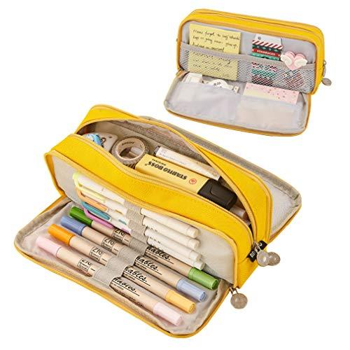iSuperb Astuccio Grande Portamatite Capacità Pencil Case 3 Scomparti Borsa dei Trucchi per Ufficio di Scuola Media Studenti (Giallo)