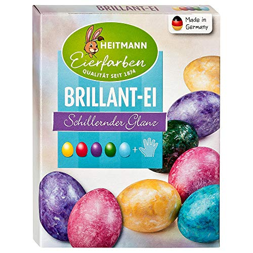 Heitmann Eierfarben Brillant - 5 flüssige Kaltfarben mit Glanz-Effekt - azofrei - Ostern - Ostereier bemalen, Ostereierfarbe