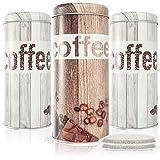 com-four® 3X Coffee Paddies - latas de café para monodosis de café - contenedores de Almacenamiento para monodosis de café - latas Decorativas con un Aspecto Vintage (3 Piezas - Set Vintage)