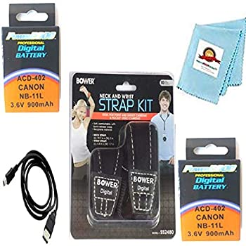2X Batteries + Neck Strap + Wrist Strap + USB Cable + Microfiber Cleaning Cloth for Canon PowerShot SX410 is SX420 is SX430 is ELPH 150 is,