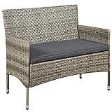 ArtLife Polyrattan Sitzgruppe Fort Myers grau-meliert | dunkelgraue Bezüge | 4 Personen | Lounge Rattanoptik Gartenmöbel-Set für Balkon oder Terrasse - 4