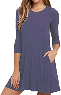 Womens Round Neck 3/4 Sleeves A-line Casual Tshirt Dress...