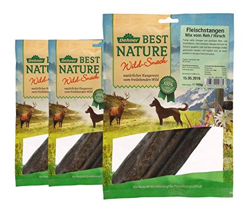 Dehner Best Nature Hundesnack, Fleischstangen von Reh und Hirsch, 3 x 100 g (300 g)