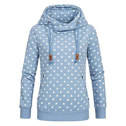 CHIYEEE Damen Lange Ärmel Hoodie Frauen Kapuzenpullover Pullover mit Kapuze Cross Over Kragen und Fleece Innenseite Blau S