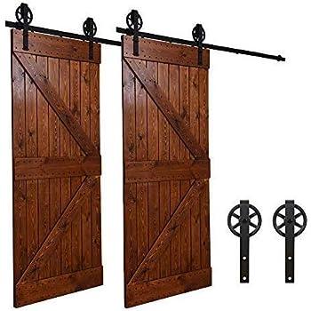9FT//274cm Puerta de Granero Corredera de Madera Herraje para Puertas Corredizas Interiores para puerta doble