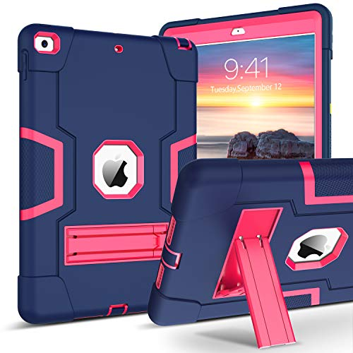 BENTOBEN iPad 7th Generation Case, iPad 10.2 Case, 3 in 1 Hybrid Shockproof Case with Kickstand Rugged Anti-Slip Shock Resistant Case Cover for iPad 10.2 inch 2019, Rose Red