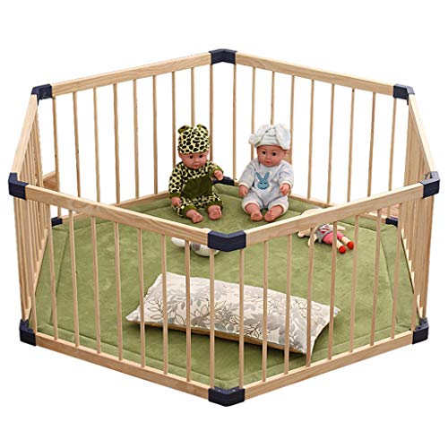 Buy Cheap Byrhgood Playpen Baby Wooden Baby Playpen and Playmat 6 Panels Child Kids Barrier Expandable Play Pen, Diagonal 150cm