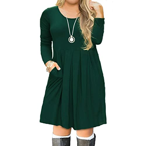 7b406a134b6b7 FOLUNSI Women s Plus Size Casual Short Sleeve Long Sleeve Pleated T Shirt  Dress with Pockets