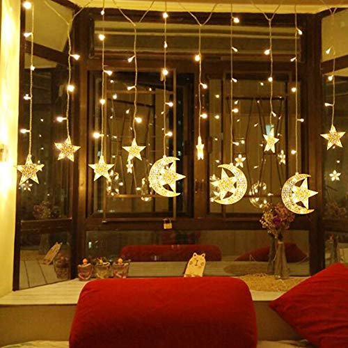 WOSTOO Star Curtain Lights, 138 LED String Lights Stars Window Decorative Lights with 2 Charging Ways(Batteries/USB) Warm White Lights for Bedroom, Patio, Dorm, Party, Home, Garden