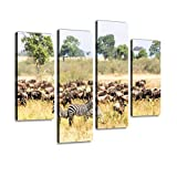 HIPOLOTUS 4 Panel Canvas Pictures Mother Zebra and Baby with wildebeest Herd in Great Migration Zebra Wall Art Prints Paintings Stretched & Framed Poster Home Living Room Decoration Ready to Hang