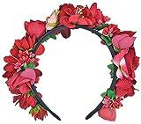 Trachtenland Hochwertiger Blumen Haarreif Blumenwiese - Zauberhafter Haarschmuck zum Dirndl, für Hochzeiten oder Festivals - Rot
