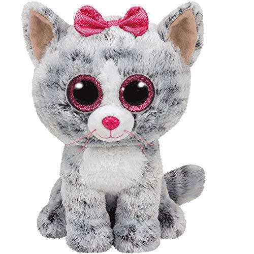 TY 37190 Kiki, Katze mit Glitzeraugen, Beanie Boos, 15cm, grau