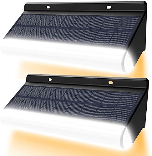 Lámpara de pared LED inalámbrica de control remoto CLY, temperatura de color ajustable, luz de energía solar 3000mAh IP67 lámpara de pared solar IP66 para decoración de jardín (2pcs)