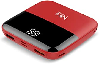 MINI Power Bank True 10000 mAh with Digital LED Screen, Fast-Charge, Ultra-Compact, Dual USB Output, Compatible with All Phones and Tablets, Portable/Stylish/Fashionable - RED