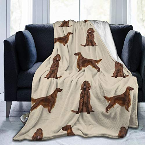 Flannel Fleece Travel Throw Blanket, Irish Setter Dog Breed Pet Pattern Gifts for Irish Setters Blankets for Fall Work, Air Conditioning Blanket and Large Easy Care 60x50 Inch