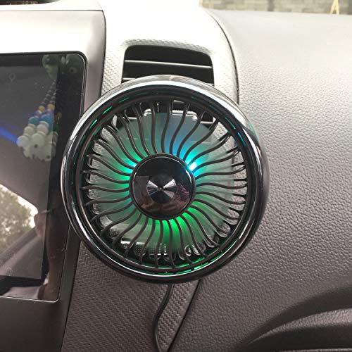 Ventilatore USB montato su presa d'aria, mini ventilatore per auto elettrica per auto, potente ventola di raffreddamento auto per auto ruotabile a 360 ° per berline SUV
