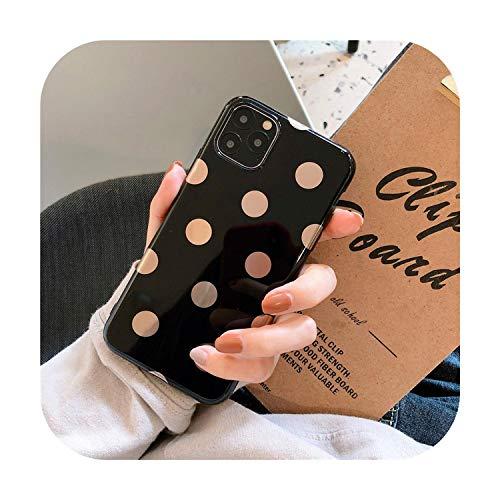 Funda de teléfono para iPhone XR XS Max de lunares para iPhone 11 Pro Max Anti caída TPU suave carcasa para iPhone 7 8 6 S cubierta trasera -Negro-para iPhone 6 Plus