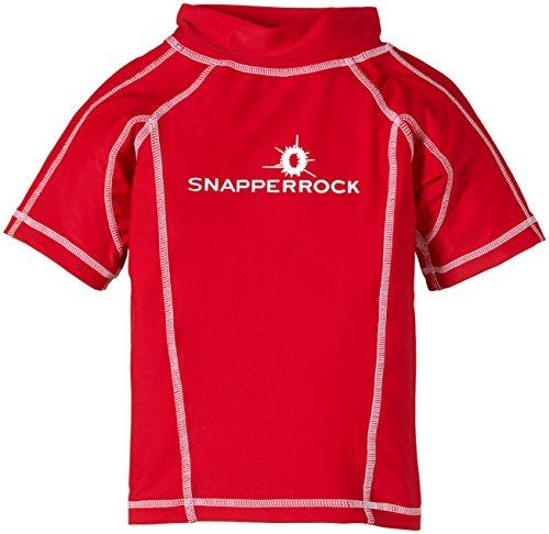 Snapper Rock Jungen UPF 50+ UV Schutz Kurzarm Bade Shirt für Kinder & Jugendliche Rot 11-12 Jahre, 152-158cm