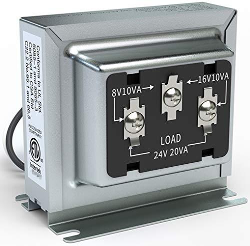 Doorbell transformer 3TRAN Tri-Volt (8V 10VA, 16V 10VA or 24V 20VA) Hardwired Door Chime Transformer 8-24V,ETL Certified