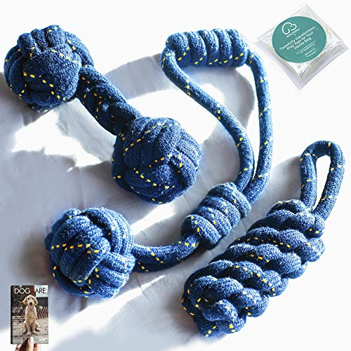 DOGGIE DOG 4 in 1 Premium 3 Indestructible Cotton Hand-Braided Chewing Dog Toys Combo for Large and Medium Dog with eBook (Bob Barker Blue) - Pack of 4