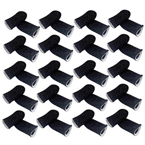 Abaodam 20 Stück Praktische Fingerhüllen Bildschirm Touch Atmungsaktive Game-Fingerabdeckung Elastisch Weich Fingerbett Anti-Schweiß Daumen Finger Schutz für Handy (weißer Rand)