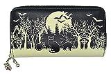 Lost Queen Woodland Wallet Black Cats & Bats Skull Charm Gothic Wiccan Vegan Zip Around Wallet