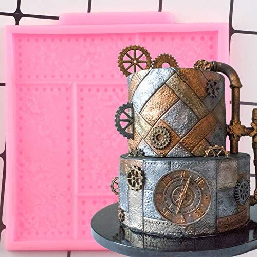 UNIYA Moldes de Silicona con Placa de Metal remachada,Molde de Borde de Pastel, Herramientas de decoración de Pasteles, moldes de Arcilla polimérica de Caramelo de Chocolate